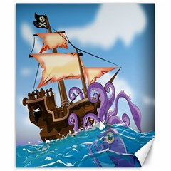 Pirate Ship Attacked By Giant Squid cartoon. Canvas 20  x 24  (Unframed)