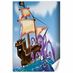 Pirate Ship Attacked By Giant Squid Cartoon  Canvas 24  X 36  (unframed)
