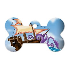 Pirate Ship Attacked By Giant Squid cartoon. Dog Tag Bone (Two Sided)
