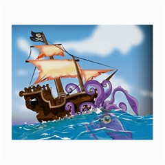 Pirate Ship Attacked By Giant Squid cartoon. Glasses Cloth (Small, Two Sided)