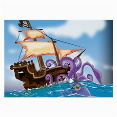 Pirate Ship Attacked By Giant Squid cartoon. Glasses Cloth (Large, Two Sided)