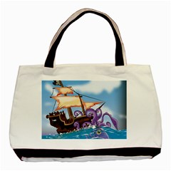 Pirate Ship Attacked By Giant Squid cartoon. Twin-sided Black Tote Bag