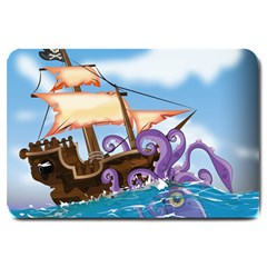 Pirate Ship Attacked By Giant Squid cartoon. Large Door Mat