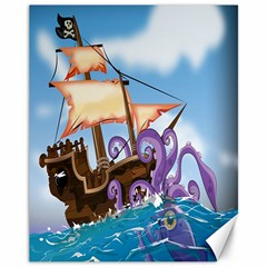 Pirate Ship Attacked By Giant Squid cartoon. Canvas 11  x 14  (Unframed)