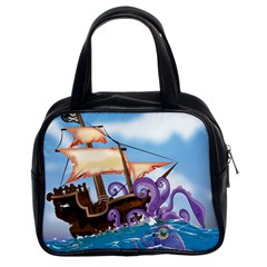 Pirate Ship Attacked By Giant Squid cartoon. Classic Handbag (Two Sides)