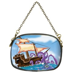 Pirate Ship Attacked By Giant Squid cartoon. Chain Purse (One Side)