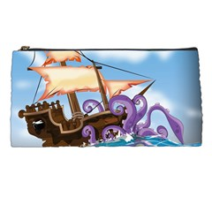 Pirate Ship Attacked By Giant Squid cartoon. Pencil Case