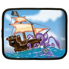 Pirate Ship Attacked By Giant Squid cartoon. Netbook Sleeve (XXL)
