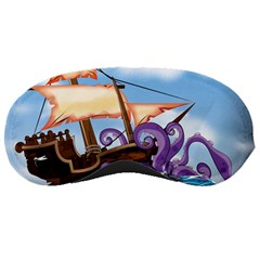 Pirate Ship Attacked By Giant Squid cartoon. Sleeping Mask