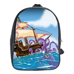 Pirate Ship Attacked By Giant Squid cartoon. School Bag (Large)