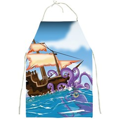 Pirate Ship Attacked By Giant Squid cartoon. Apron