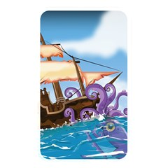 Pirate Ship Attacked By Giant Squid cartoon. Memory Card Reader (Rectangular)