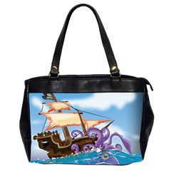 Pirate Ship Attacked By Giant Squid cartoon. Oversize Office Handbag (Two Sides)