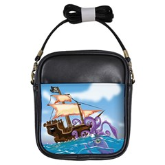 Pirate Ship Attacked By Giant Squid cartoon. Girl s Sling Bag