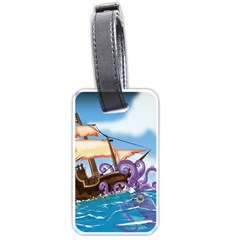 Pirate Ship Attacked By Giant Squid cartoon. Luggage Tag (Two Sides)