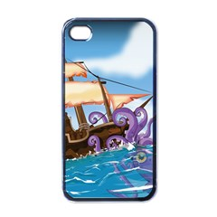 Pirate Ship Attacked By Giant Squid cartoon. Apple iPhone 4 Case (Black)