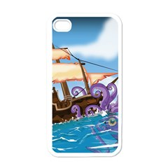 Pirate Ship Attacked By Giant Squid cartoon. Apple iPhone 4 Case (White)