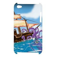 Pirate Ship Attacked By Giant Squid cartoon. Apple iPod Touch 4G Hardshell Case