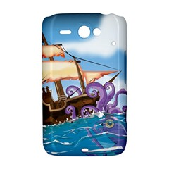 Pirate Ship Attacked By Giant Squid cartoon. HTC ChaCha / HTC Status Hardshell Case