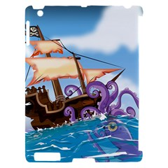 Pirate Ship Attacked By Giant Squid cartoon. Apple iPad 2 Hardshell Case (Compatible with Smart Cover)