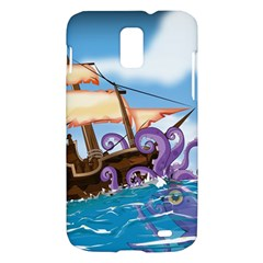 Pirate Ship Attacked By Giant Squid cartoon. Samsung Galaxy S II Skyrocket Hardshell Case