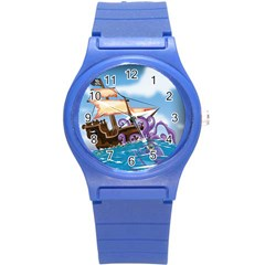 Pirate Ship Attacked By Giant Squid cartoon. Plastic Sport Watch (Small)