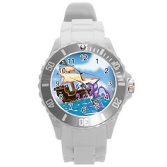 Pirate Ship Attacked By Giant Squid cartoon. Plastic Sport Watch (Large)