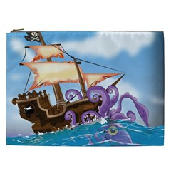 Pirate Ship Attacked By Giant Squid cartoon. Cosmetic Bag (XXL)