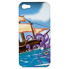 Pirate Ship Attacked By Giant Squid Cartoon  Apple Iphone 5 Hardshell Case