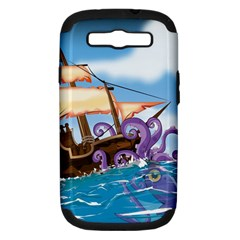 Pirate Ship Attacked By Giant Squid Cartoon  Samsung Galaxy S Iii Hardshell Case (pc+silicone)