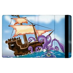 Pirate Ship Attacked By Giant Squid Cartoon  Apple Ipad 2 Flip Case