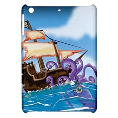 Pirate Ship Attacked By Giant Squid cartoon. Apple iPad Mini Hardshell Case