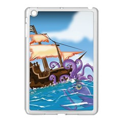 Pirate Ship Attacked By Giant Squid cartoon. Apple iPad Mini Case (White)
