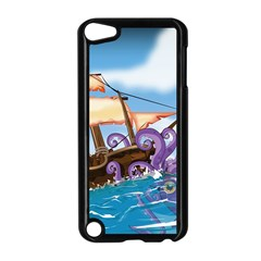 Pirate Ship Attacked By Giant Squid cartoon. Apple iPod Touch 5 Case (Black)