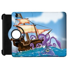 Pirate Ship Attacked By Giant Squid cartoon. Kindle Fire HD 7  (1st Gen) Flip 360 Case