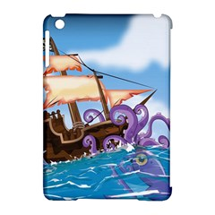 Pirate Ship Attacked By Giant Squid cartoon. Apple iPad Mini Hardshell Case (Compatible with Smart Cover)