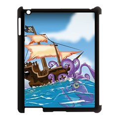 Pirate Ship Attacked By Giant Squid cartoon. Apple iPad 3/4 Case (Black)