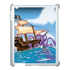Pirate Ship Attacked By Giant Squid cartoon. Apple iPad 3/4 Case (White)