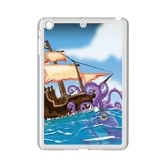 Pirate Ship Attacked By Giant Squid cartoon. Apple iPad Mini 2 Case (White)