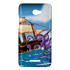 Pirate Ship Attacked By Giant Squid cartoon. HTC Butterfly (X920e) Hardshell Case