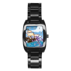 Pirate Ship Attacked By Giant Squid Cartoon  Stainless Steel Barrel Watch