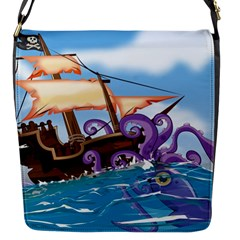 Pirate Ship Attacked By Giant Squid cartoon. Flap Closure Messenger Bag (Small)
