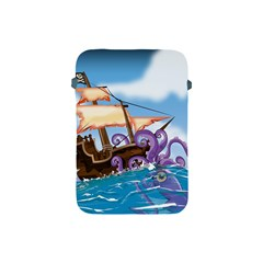 Pirate Ship Attacked By Giant Squid cartoon. Apple iPad Mini Protective Sleeve