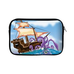 Pirate Ship Attacked By Giant Squid cartoon. Apple iPad Mini Zippered Sleeve