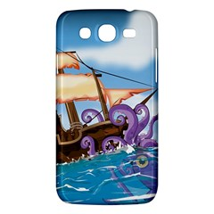 Pirate Ship Attacked By Giant Squid cartoon. Samsung Galaxy Mega 5.8 I9152 Hardshell Case