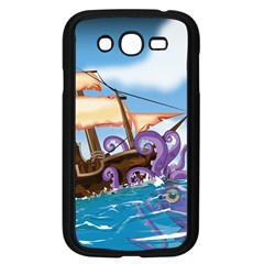 Pirate Ship Attacked By Giant Squid cartoon. Samsung Galaxy Grand DUOS I9082 Case (Black)