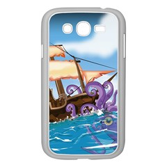 Pirate Ship Attacked By Giant Squid cartoon. Samsung Galaxy Grand DUOS I9082 Case (White)