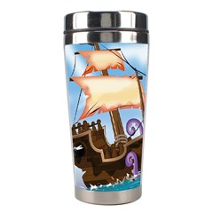 Pirate Ship Attacked By Giant Squid Cartoon  Stainless Steel Travel Tumbler