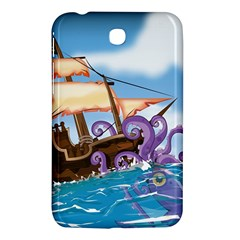 Pirate Ship Attacked By Giant Squid cartoon. Samsung Galaxy Tab 3 (7 ) P3200 Hardshell Case