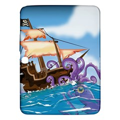 Pirate Ship Attacked By Giant Squid cartoon. Samsung Galaxy Tab 3 (10.1 ) P5200 Hardshell Case